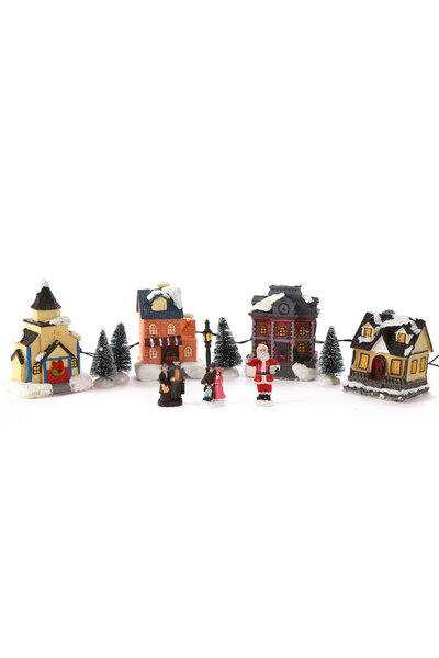 Vila de Natal com Papai Noel e Moradores