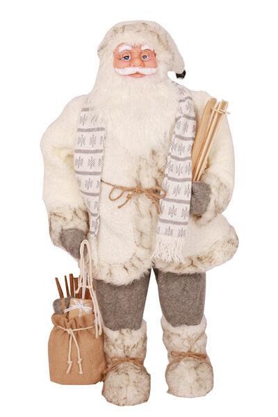 Boneco Papai Noel com Roupa Branca e Ski na Mão 95cm