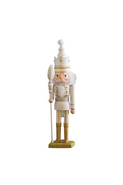 Boneco Quebra-Nozes com roupa branca e detalhes prata