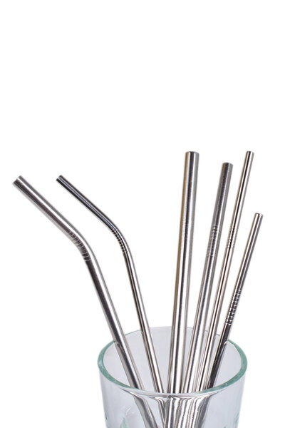 Kit Canudos de Aço Inoxidável Prateado com Limpadores