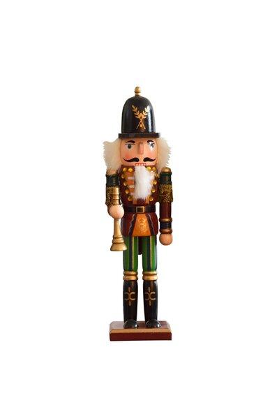 Boneco Quebra-Nozes com roupa vinho e clarinete