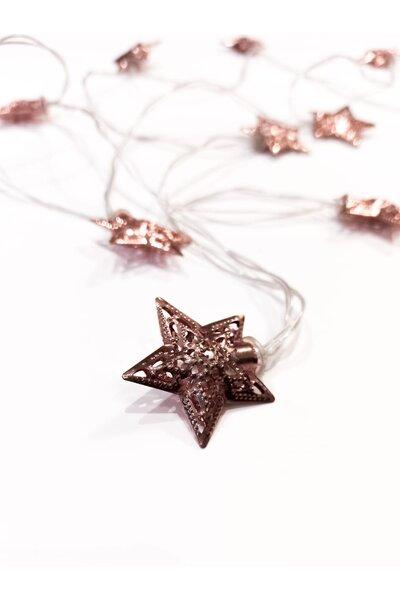Pisca LED Estrela Rose Gold de Metal