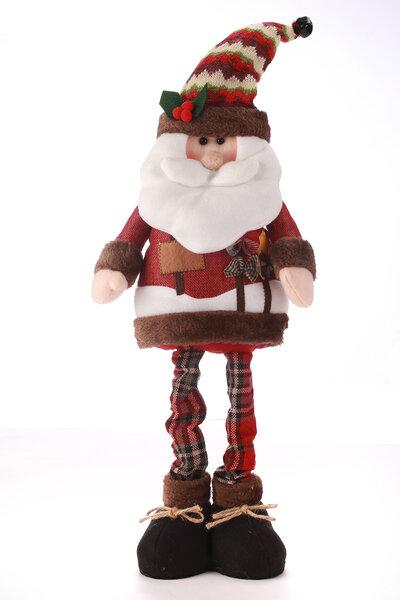 Boneco Papai Noel com Roupa Xadrez Extensível