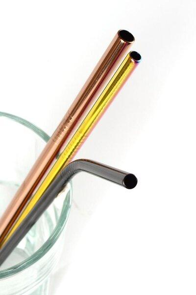 Kit Canudos de Aço Inox Coloridos com Limpadores