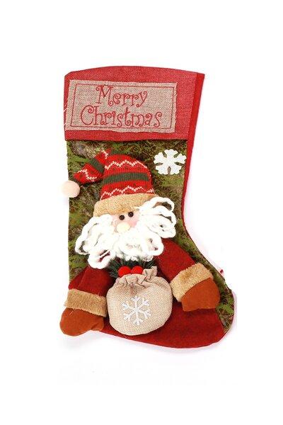Bota Papai Noel c/ Saco de Presente na Mão 44cm