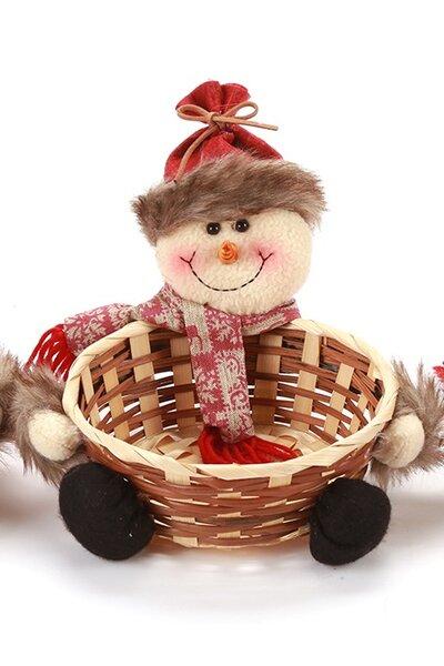 Cestinha Boneco de Neve com Gorro Vermelho - 17cm