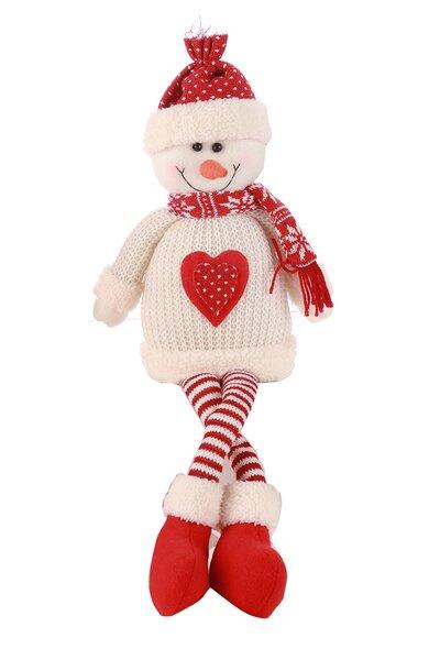 Boneco de Neve Sentado com Roupa Vermelha e Branca de Tricô