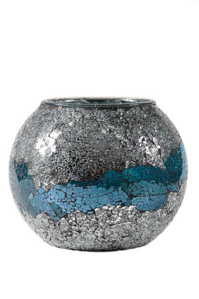 Vaso Espelhado Azul e Preateado Redondo