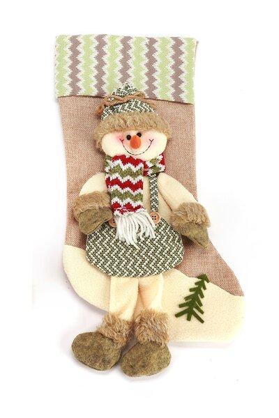 Bota Boneco de Neve Listrada Rústica c/ Perninhas 45cm