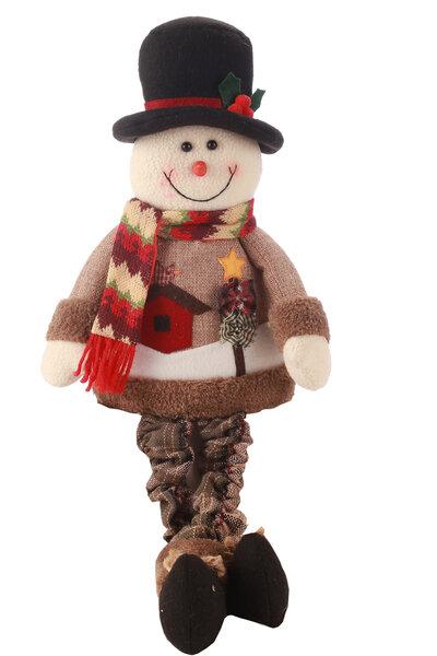 Boneco de Neve com Roupa Xadrez Sentado