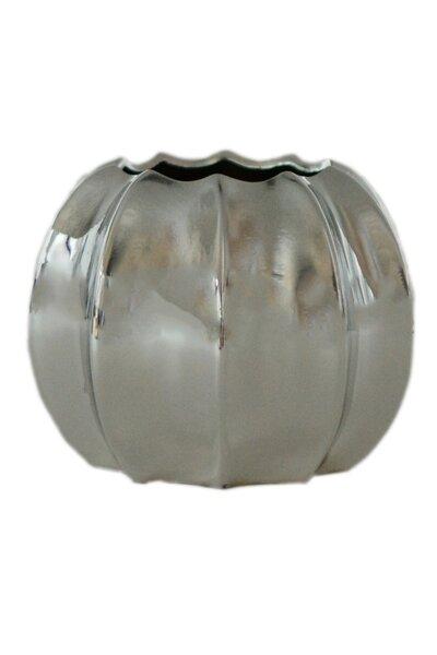 Vaso de Cerâmica Metalizado Prata Médio