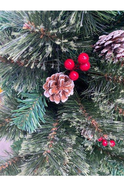 Árvore Pinheiro Luxo Semi-Nevado com Pinhas e Frutinhas
