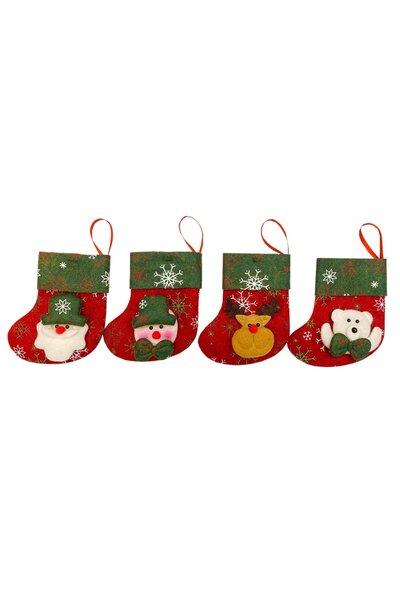 Kit Botinhas Natalinhas Vermelhas com Barrado Verde
