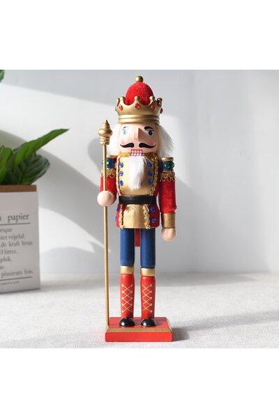 Boneco Quebra-Nozes com roupa vermelha e ponteira
