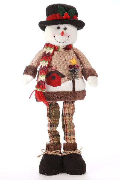 Boneco de Neve com Roupa Xadrez Extensível