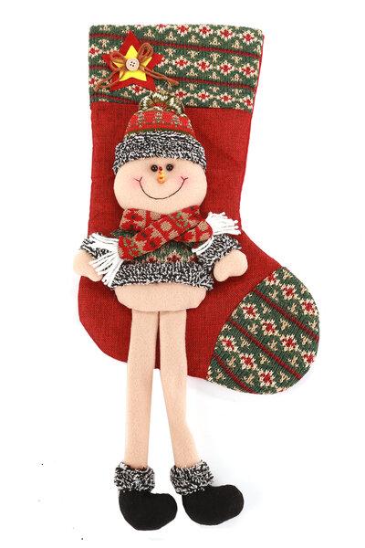 Bota Listrada Boneco de Neve com Pernas Penduradas