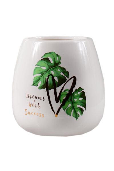 Vaso de Cerâmica Branco com Folhagens 12,5cm