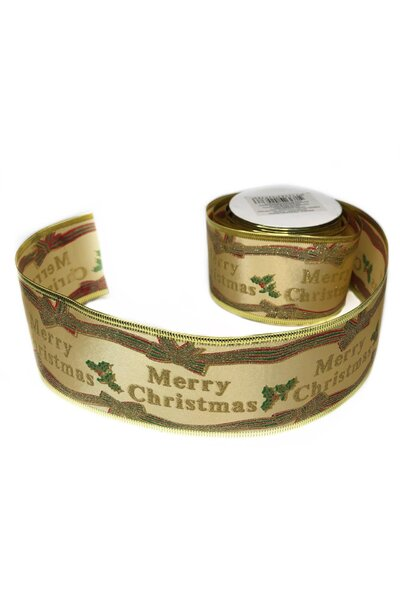 Fita Natalina Aramada Dourada Cetim Merry Christmas
