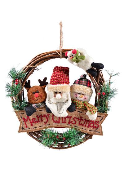 Guirlanda Família Noel Rústica Feliz Natal