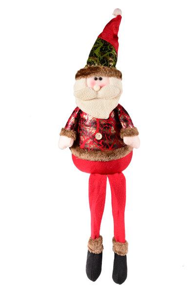 Boneco Noel Sentado Vermelho e Verde com perninhas penduradas
