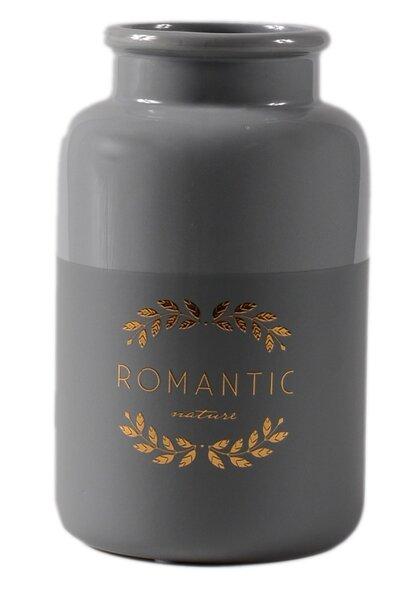 Vaso de Cerâmica Cinza Romantic Dourado Médio