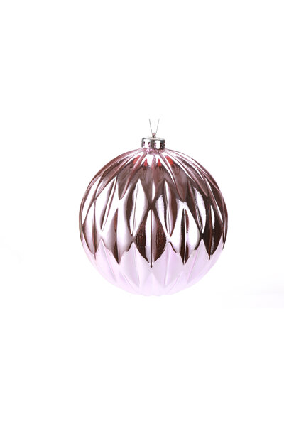 Bola Natalina Metalizada Vincos 15cm