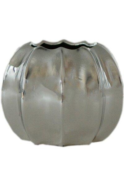Vaso de Cerâmica Metalizado Prata Grande