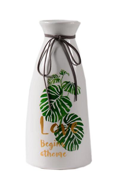 Vaso de Cerâmica Branco Folhagens Love 25cm