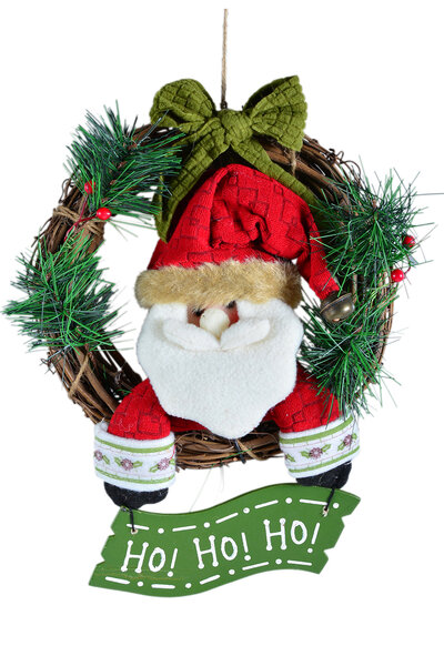 Mini Guirlanda Papai Noel com Placa Pendurada