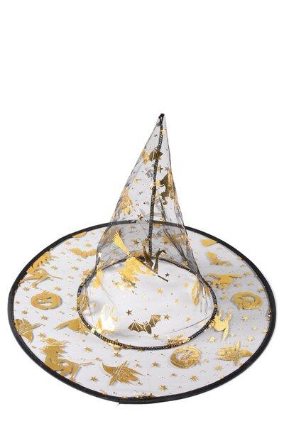 Chapéu de Bruxa Transparente com desenhos metalizados