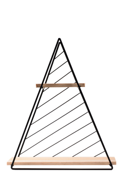 Prateleira Dupla Desmontável com Estrutura de Metal Preto Triangular
