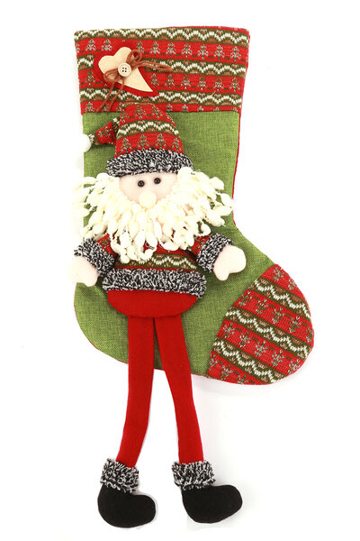 Bota Listrada Papai Noel com Pernas Penduradas
