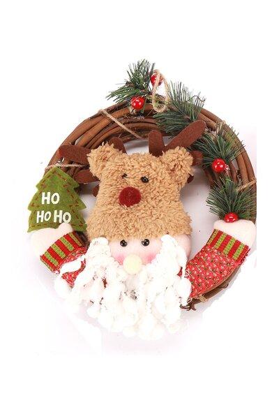 Mini Guirlanda Papai Noel c/ Gorro de Rena