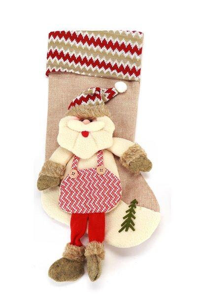 Bota Papai Noel Listrada Rústica c/ Perninhas 45cm
