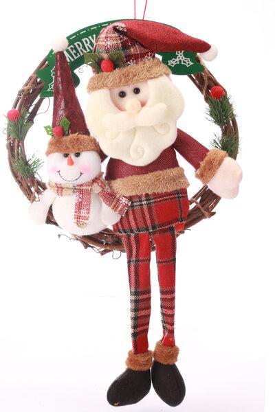 Guirlanda Papai Noel com Roupa Xadrez e Pernas