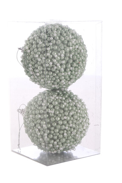 Bola Natalina Luxo Esferas de Glitter c/ Pérolas