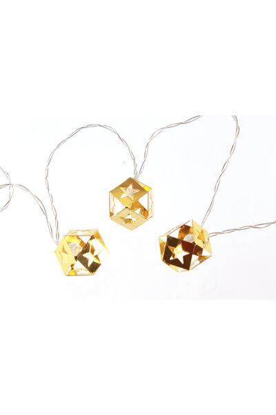 Pisca LED Cubo Dourado de Metal