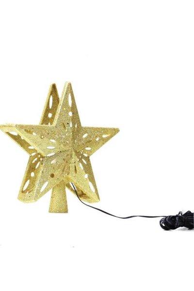 Ponteira Estrela Dourada 3D LED com Efeito Colorido