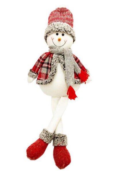 Boneco de Neve c/ Roupa Xadrez Perninhas Penduradas