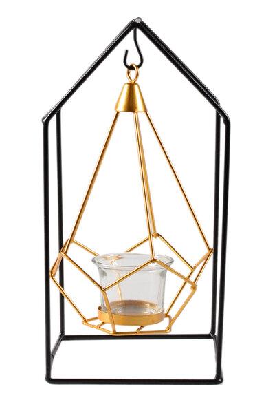 Porta Vela de Vidro Diamante Dourado