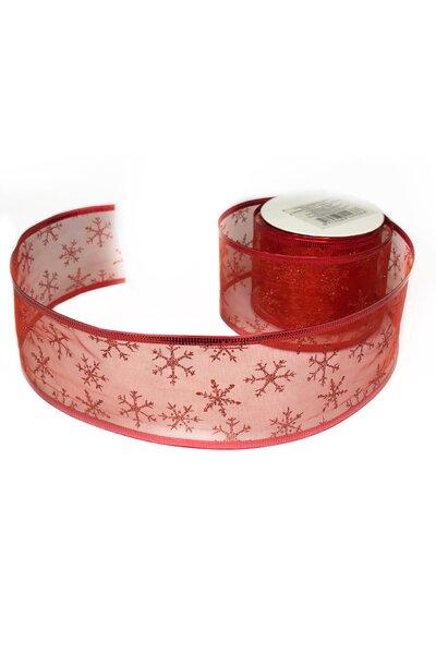Fita Natalina Aramada Vermelha Voal Flocos de Neve