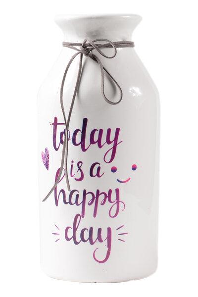 Vaso de Cerâmica Branco Today is a Happy Day