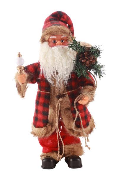 Boneco Papai Noel Musical c/ Roupa Xadrez 45cm