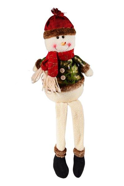 Boneco de Neve Sentado Vermelho e Verde com perninhas penduradas