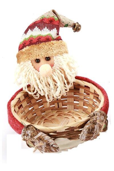 Cestinha Papai Noel com Gorro Listrado - 17cm