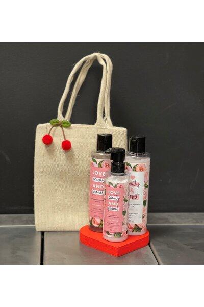 Kit Sacola de Juta com love beauty (shampoo, condicionador, creme de limpeza)