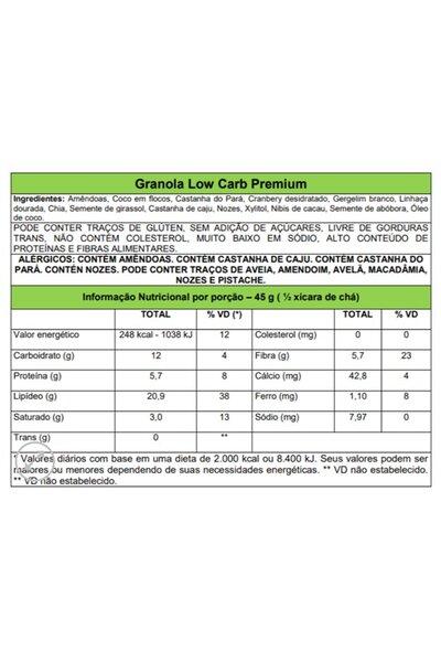 Granola Premium Low Carb Veganutris - 210g