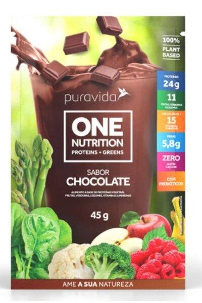Proteina sabor chocolate one nutrition puravida - sachê 45g