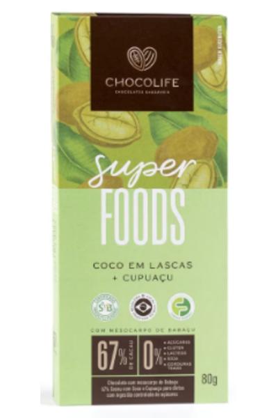 Chocolate 67% cacau - coco em lascas e cupuaçu Superfoods Chocolife - 80g