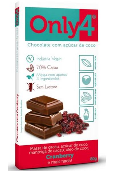 Chocolate 70% cacau only4 cranberry - 80g